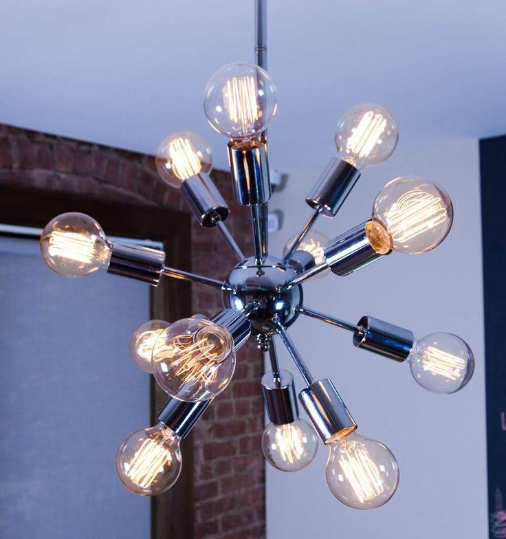 Mid century Sputnik chandelier mid century modern retro 50s 60s decor The light bulbs are so cool