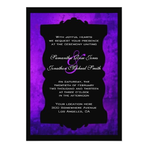 Gothic Wedding Invitations Distressed Purple Black Gothic Wedding Invitation