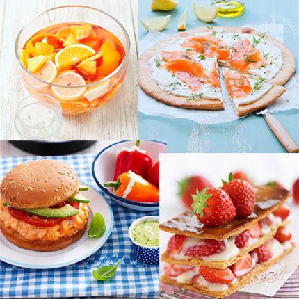 Sangria au vin blanc, tarte fine au saumon, burger de la mer et millefeuille aux fraises...