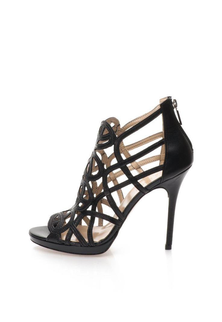 Sandale negre din piele - Zee Lane