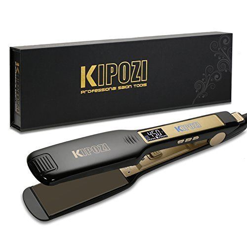 KIPOZI Professional Titanium Hair Straightener Flat Iron with Digital LCD Display ,Dual Voltage,Instant Heat Up(1.75 inch,black). For product & price info go to:  https://beautyworld.today/products/kipozi-professional-titanium-hair-straightener-flat-iron-with-digital-lcd-display-dual-voltageinstant-heat-up1-75-inchblack/