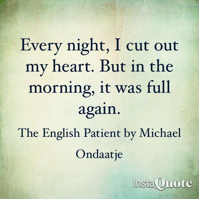 book rview on the english patient Canadian author ondaatje offers a poetic novel set in a desolate italian villa in the final days of wwii--a one-week pw bestseller--and an evocative account of a.
