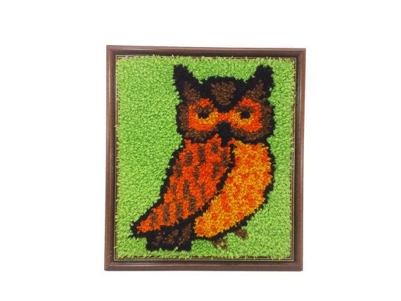 Retro Framed Owl Latch Hook Vintage Wall by EclecticEmbrace