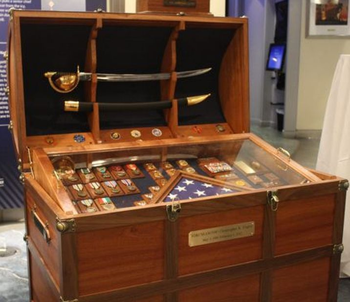 Antique Trunk Used As Navy Retirement Gift For Chief Petty