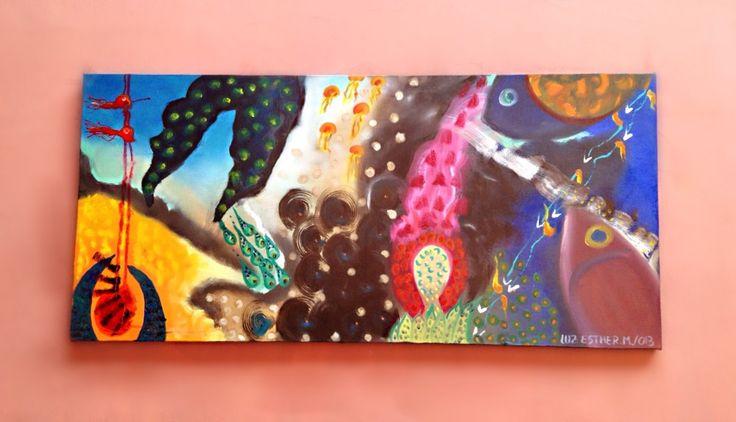 Titulo: Océano pintoresco  Dimensión : 110 x 50  Autor: Luz Esther monsalve  Técnica : Óleo sobre Lienzo  Año: 2013