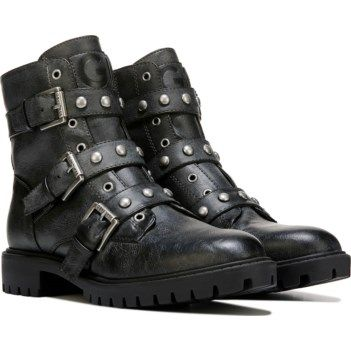 G BY GUESS Women's Prez Studded Combat Boot at Famous Footwear