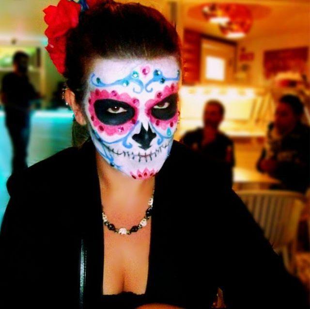 "Girly Sugar Skull Halloween makeup. Dia de Los Muertos, ""La Catrina"", inspired."