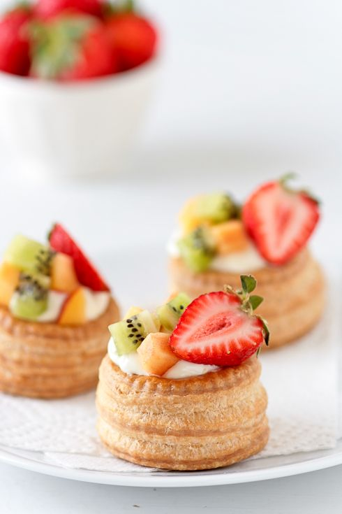 strawberries vols au vent with a tart lemon curd mousse and topped them with kiwi, nectarine... @Marisa Chavez... You should totally make these!
