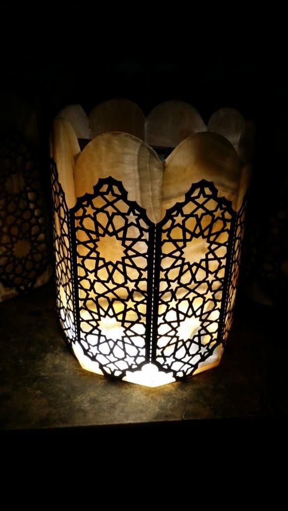 اباجورة مثمنة لوكس من الرخام و النحاس Decor Home Decor Lamp