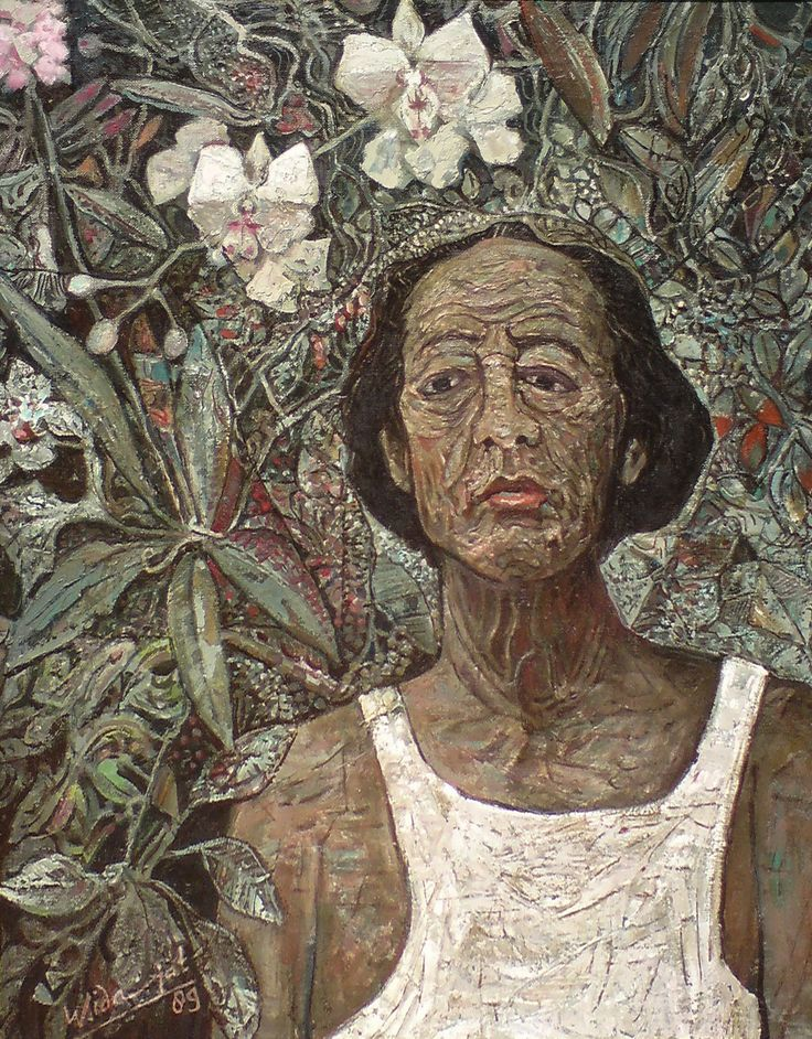 "WIDAYAT ""Pelukis dan Anggrek"", 1989 Oil, canvas mounted on board 75 x 60 cm"