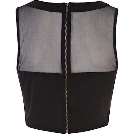 Black mesh panel sleeveless crop top - crop tops / bralets / bandeau tops - tops - women