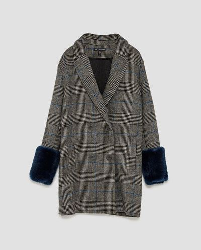CHECKED COAT WITH TEXTURED CUFFS-GO RODEO-TRF-EDITORIALS | ZARA United States