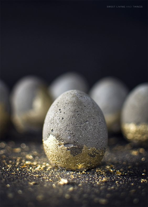 Concrete Eggs with Gold Dust
