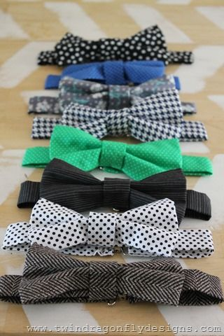 Bow Tie Tutorial... I don't have any fabric style ones but I could use some. All of mine are silk. Variety would be fun