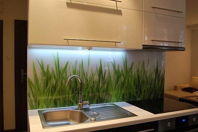 Wesoła trawka w kuchni, szkło hartowane