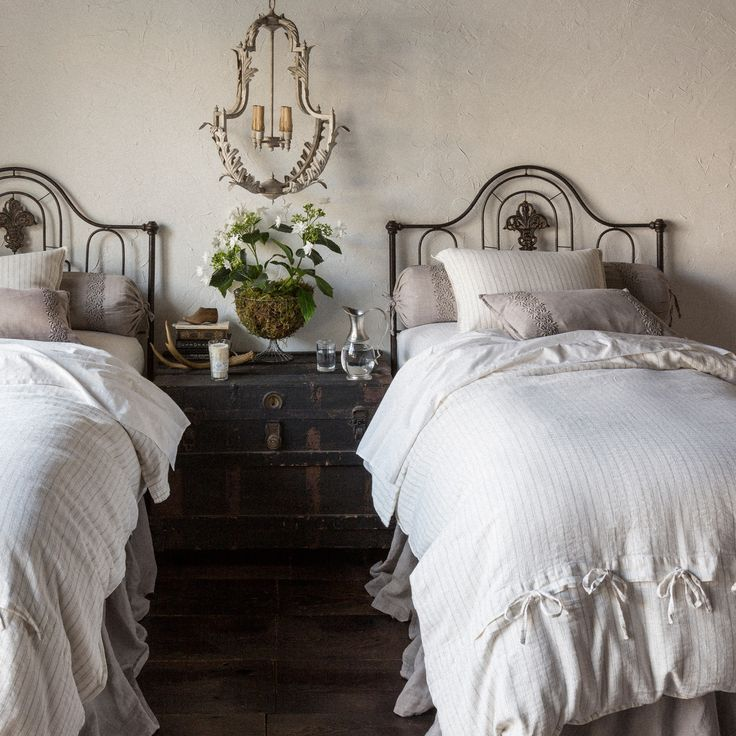 "The Bella Notte Capri duvet cover offers a delicate, classic stripe pattern to guest and master beds. This charming bedding features a subtle herringbone weave for added organic, textural allure. Twin: 71""W x 88""L. Queen: 90""W x 94""L. King: 106""W x 94""L. Available in several colors. 70% cotton/30% linen. .5"" Self flange on back. Self-tie closure on back."