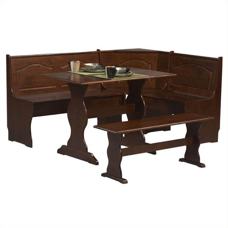 Lowest price online on all Linon Chelsea Breakfast Corner Nook Table Set in Walnut  - K90366-67-68WAL