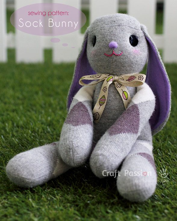 How To Sew Lop-Eared Sock Bunny – Lilac Difficulty: Intermediate / Avid Beginner Finished size: approximately 7″ (W) x 14″ (H)