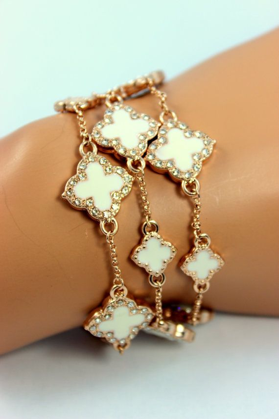 Clover Bracelet Rose Gold Multi Crystal by divinitycollection