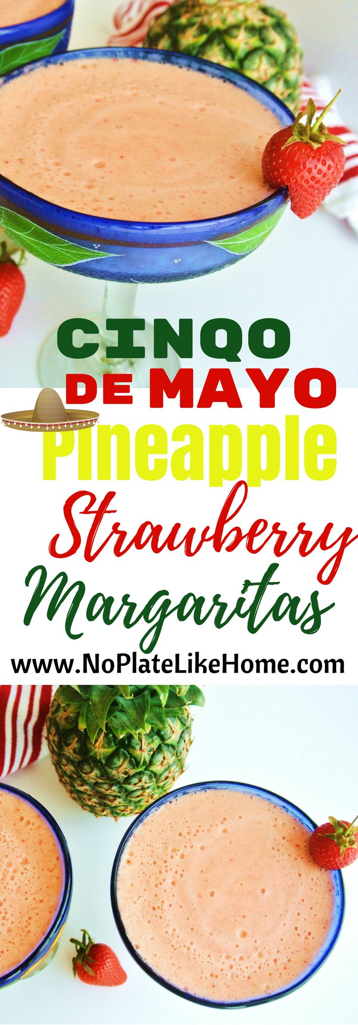 Get your Cinqo de Mayo drink recipes ready! This tasty, frothy frozen margarita is made with fresh pineapple and strawberries, Tequila and Triple Sec, orange juice, sugar and ice cubes using a blender. They're refreshing cocktails perfect for parties! Turn your fruit salad leftovers into fresh Margaritas with this easy recipe and skip the frozen syrup mixers! Pin for later.