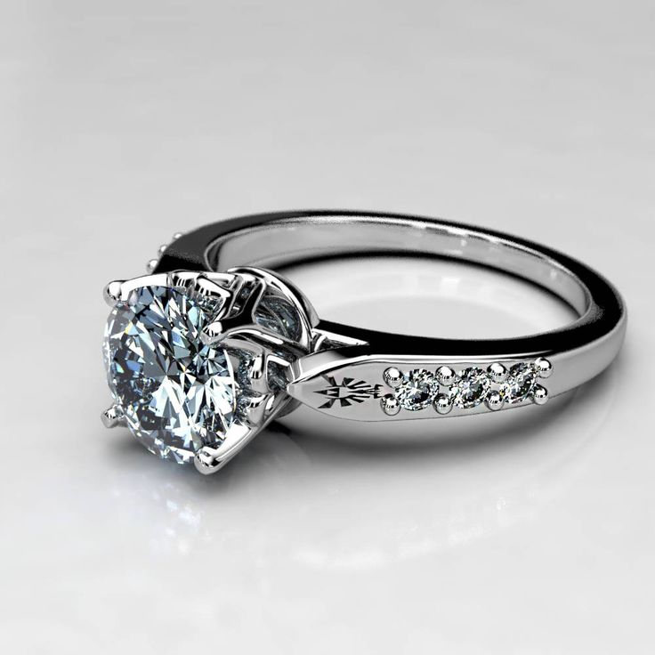 1 Carat Zelda Engagement Ring in 14k White Gold, 1 Ct Forever One Moissanite Engagement Ring, Legend of Zelda Wedding ring, Size 4 Ring