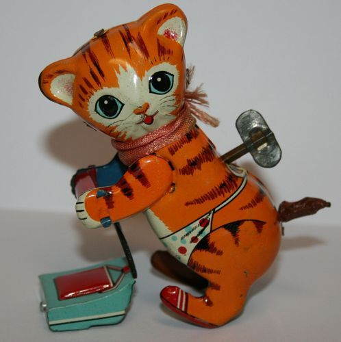 Vintage Antique Linemar Co Made in Japan Tin Metal Litho Wind Up Cat Animal Toy | eBay