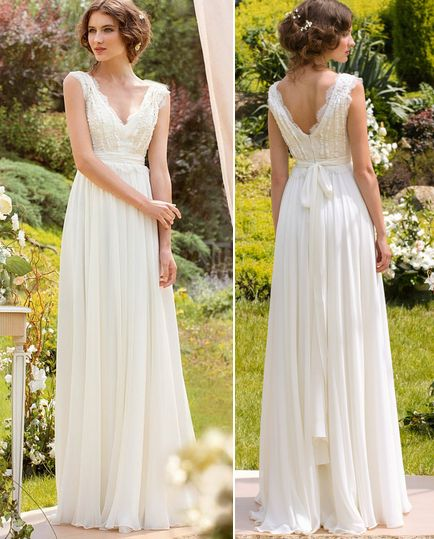 Scalloped Lace Neck Spring Boho Wedding Dress Bridal Gown Custom Size 2 4 6 8 10