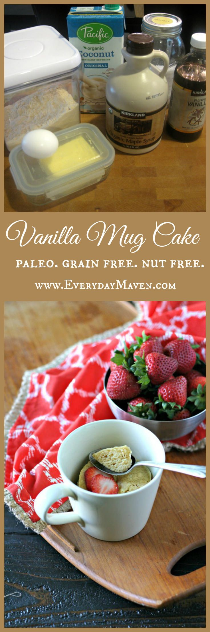 Paleo Vanilla Mug Cake - good as is, with a few chocolate chips melted on top...divine!