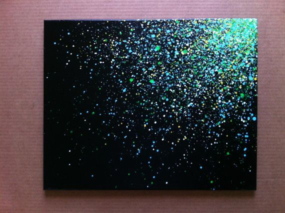 16x20 splatter canvas made with spray paint. Black and splatter effect cover the edges, so theres no need for a frame. Back of the canvas is signed by the artist.
