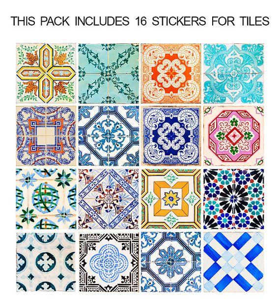 Tuiles Traditionnelle Espagnole - Autocollants de tuiles - Sticker de Décoration pour Carrelage - PAQUET DE 16