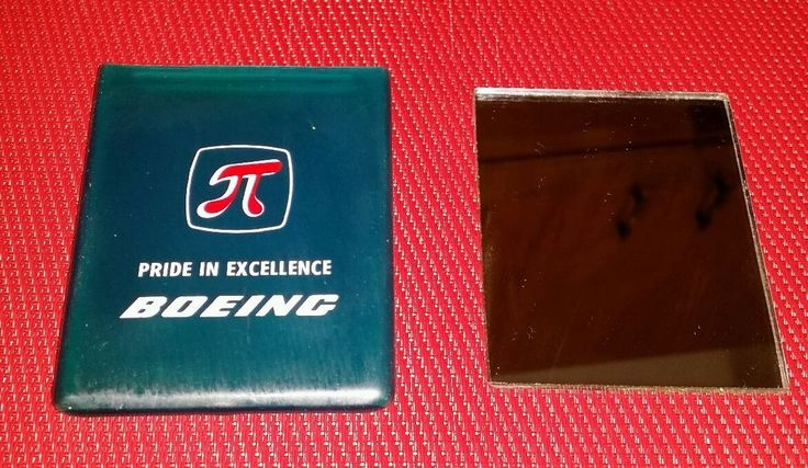 BOEING Collectible Pocket Mirror Rubber Sleeve Pride in Excellence PIE Pi Symbol