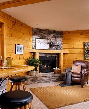 Basement Wall Idea: Walls Covered In Warm Pine Tongue And Groove Siding,