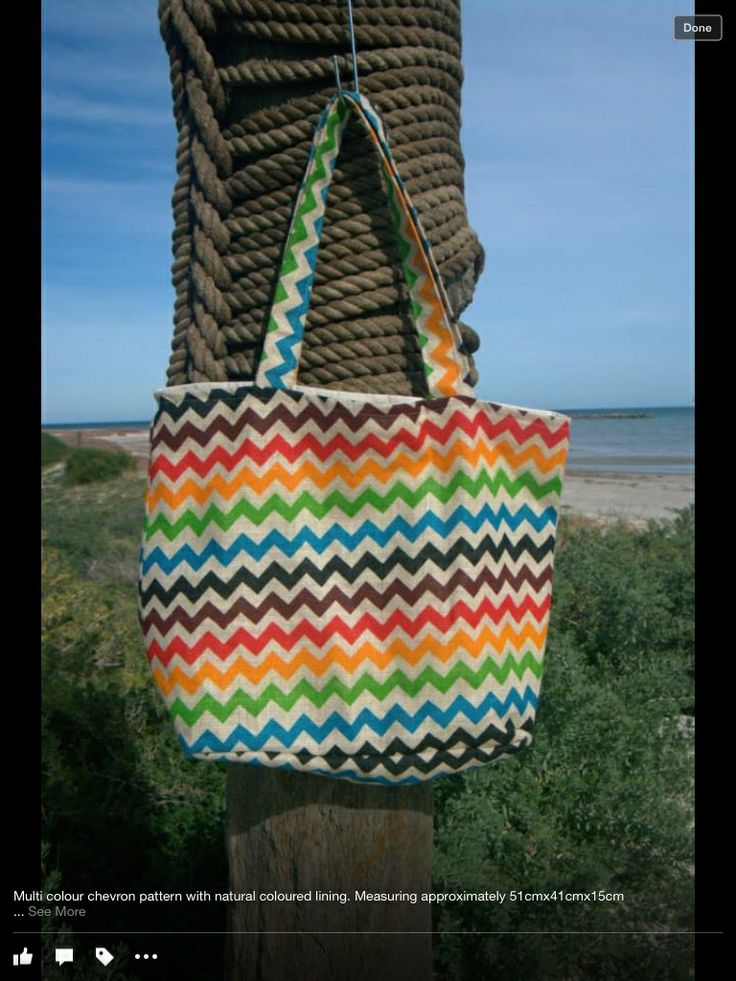 Jute bag - Multi colour chevron Handmade fully lined bag in natural colour, complete with two internal pockets.  Approx 51x41x15cm  $30.00 each