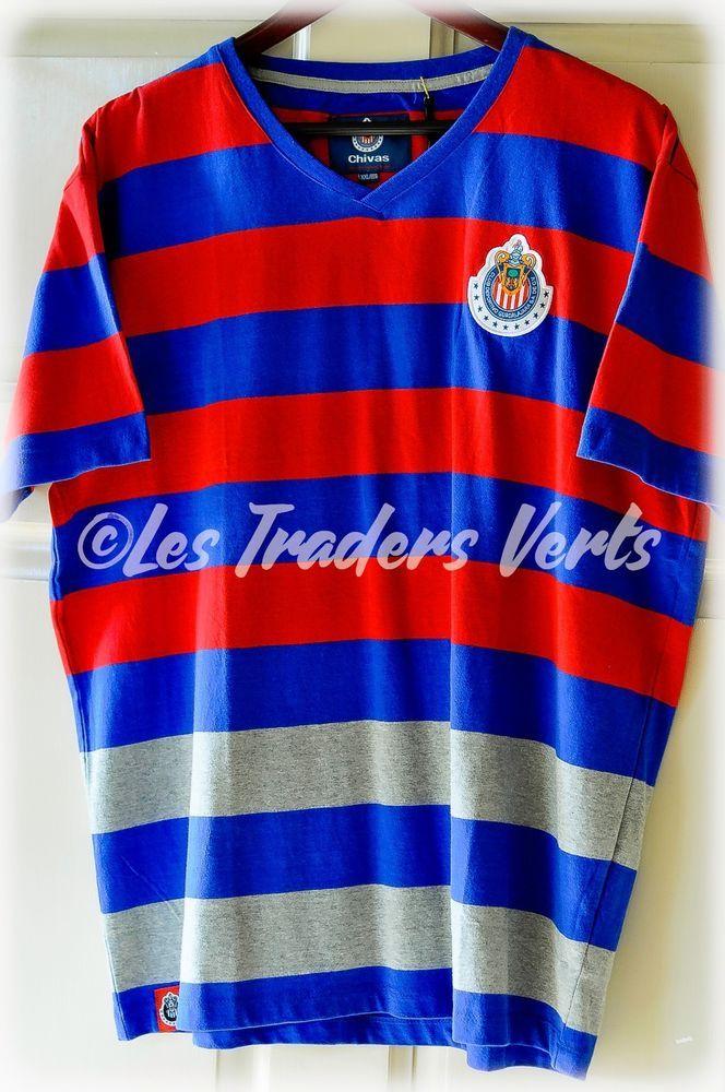 CHIVAS GUADALAJARA Men's Striped T-Shirt 100% Cotton Size XXL New Playera  #Chivas #EmbellishedTee
