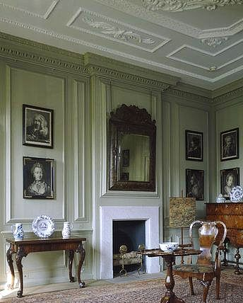 Mompesson House, Wessex. Photo shows a corner of the Green Room featuring…