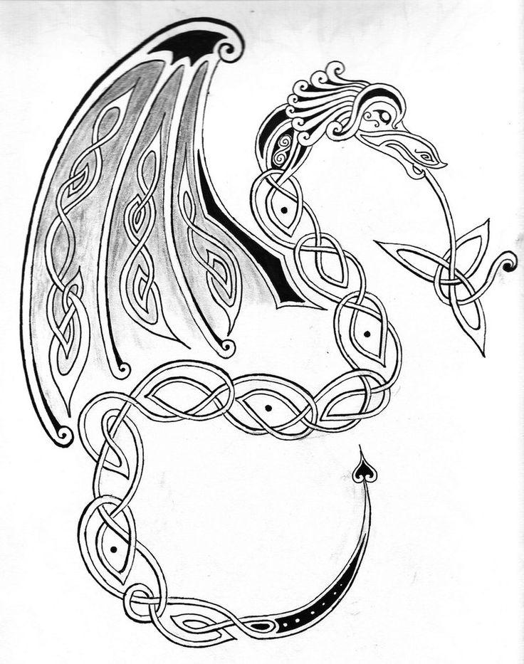 Celtic dragon drawings   Celtic Dragon by Wilykat13
