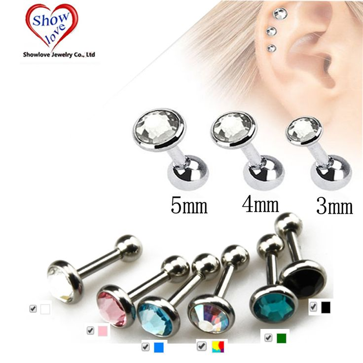 Showlove-Gem Ear Piercing Lip Body Helix Tragus Lobe Barbell Bar Earrings Ear Studs Piercing 3mm&4mm&5mm Choosable