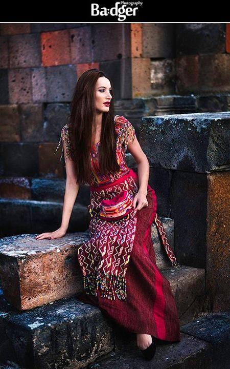 Fashion shoot at the Zvartnots ruins in Yerevan, Armenia by Badger Photography. Traditional Armenian gown: Shadoyan Fashion, model: Marina A.