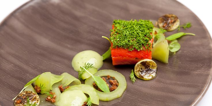 The flavour of gin marries beautifully with salmon, cucumber and wasabi emulsion in this summery salmon recipe from Dave Watts.
