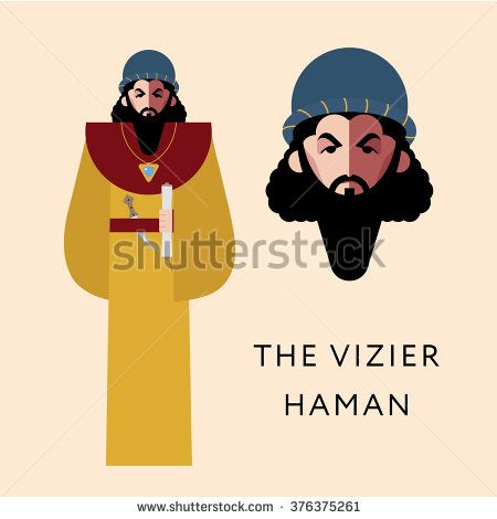 Flat vector bible character for Jewish Religion Holiday Purim, Haman puppet with costume, traditional symbol, The scroll of Esther  - stock vector