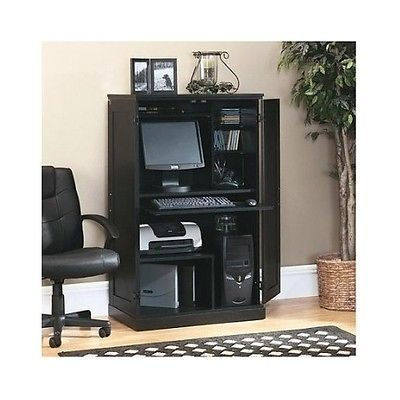 Hidden Computer Desk Large Home Office Furniture Armoire Storage Keyboard Tray