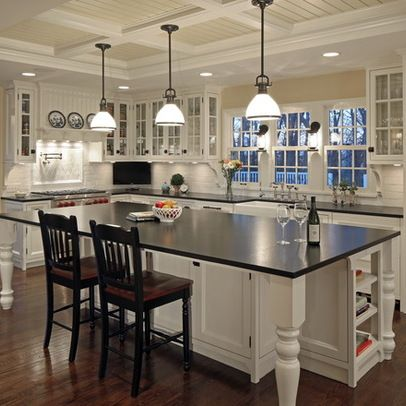 like pendant lights over island. like white with dark counter tops. like recessed lighting on rest of ceiling