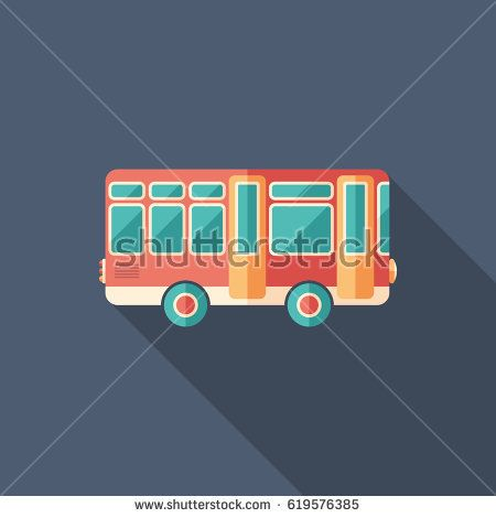 Toy retro bus flat square icon with long shadows. #transporticons #summericons #flaticons #vectoricons #flatdesign