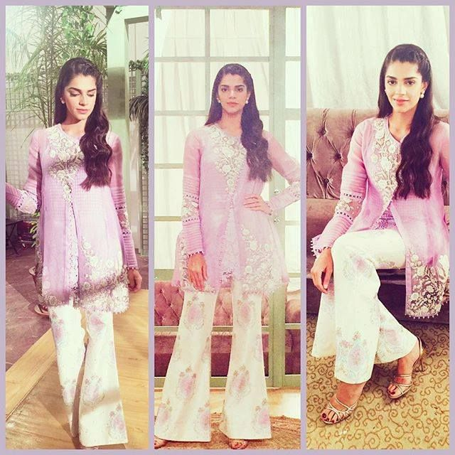 Stunning Sanam Saeed channeling a soft hued dress... The printed flared looking pants are the winning point of this dress.#GO DESI!!!