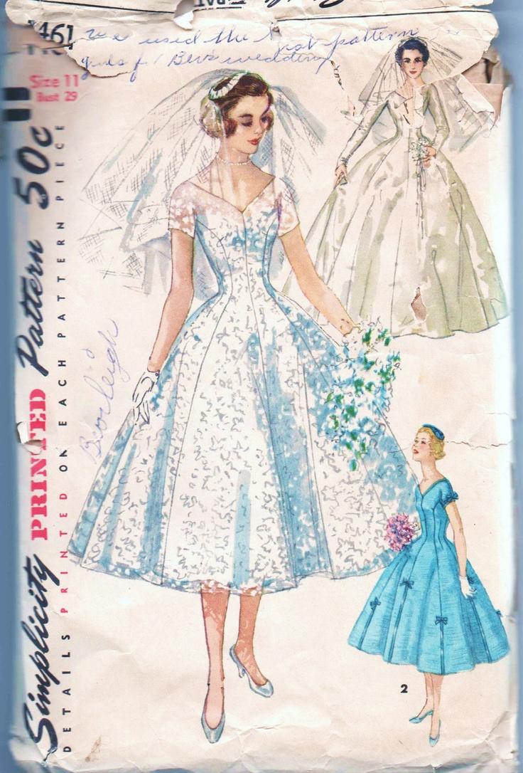 103 best sewing patterns i want images on pinterest vintage vintage uncut pattern simplicity 1461 1956 size 11 junior misses one piece brides bridesmaids dress veil ombrellifo Gallery
