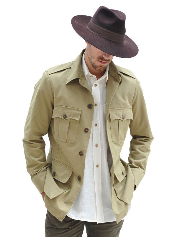 Cotton Tailored Safari Jacket http://geraldwebster.com/collections/mens-apparel/products/cotton-tailored-safari-jacket-khaki