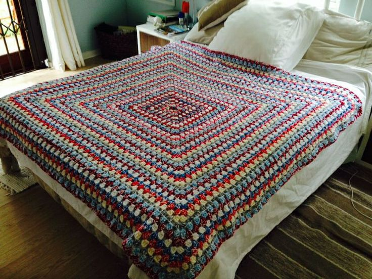 Crocheted granny square throw / blanket