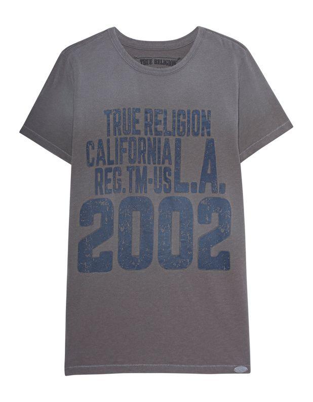 T-Shirt mit Print Graues T-Shirt aus softer Baumwolle mit kontrastierendem Label-Print in Vintage-Optik vorne und witzigem Buddha-Print hinten.  Kombiniert mit Jeans und Sneakers für einen lässigen Style...