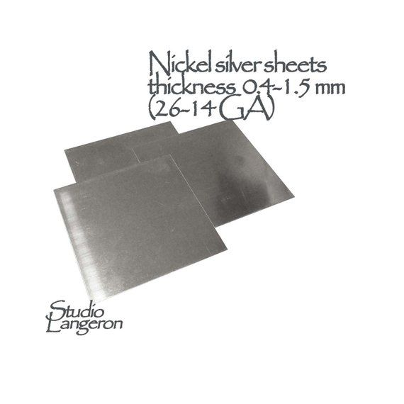 Nickel Silver Sheets Thickness 0 4 1 5 Mm 26 14 Ga Size Etsy Nickel Silver Nickel Silver