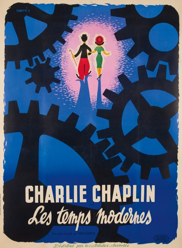 Charlie Chaplin / Les temps moderne. 1950  Artist: HENRI CERUTTI (?-1968) Size: 46 x 63 in./116.8 x 160 cm Imp. Richier-Laugier, Paris Generally thought of as one of Chaplin's best films, Modern Times (1936) follows the story of the Little Tramp as he deals with the nearly-insurmountable struggles of the Great Depression. This poster for the 1950 reissue of the film focuses on the final scene in which the Tramp and his lady are seen walking at dawn toward an uncertain, but hopeful future.